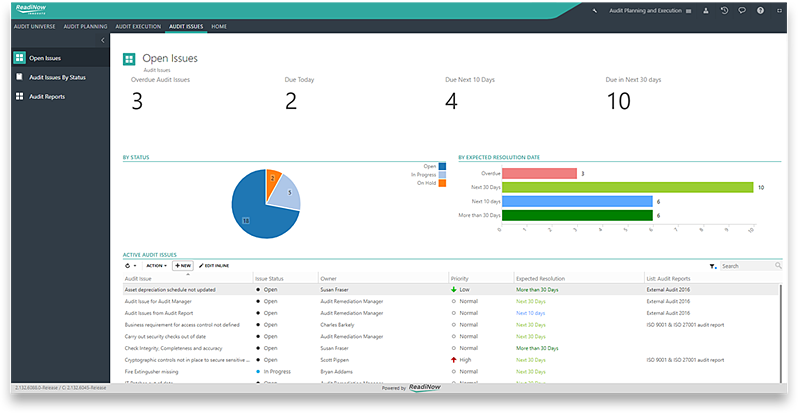 Dashboard of the Audit Issue section in the Continuity Management software showing status of issues, due dates and activities.